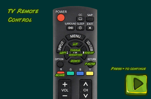 Panasonic TV remote controls for the game Captain Rogers: Battle at Andromeda.