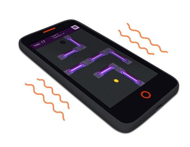 A visualization of the vibrations of a Flame mobile device with the Cyber Orb game demo on the screen.