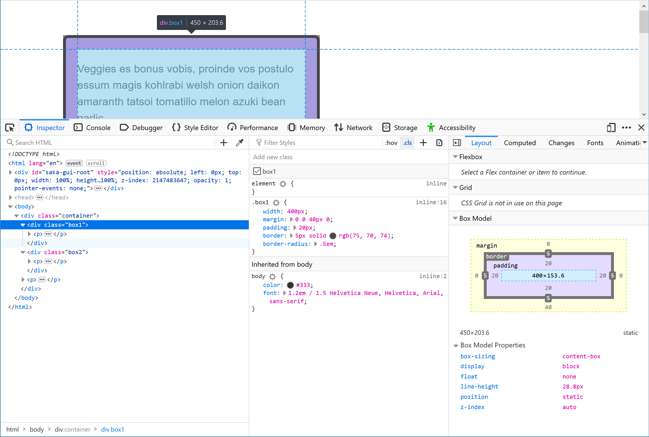 The Layout section of the DevTools