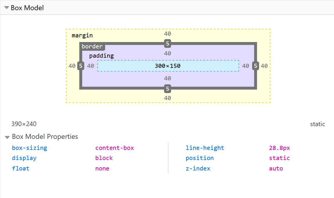 Inspecting the box model of an element using Firefox DevTools