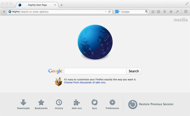 Example of Firefox nightly displaying a custom Google page as default