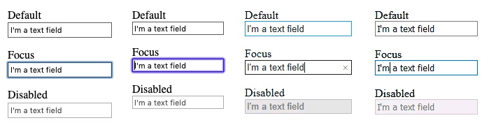 Screenshot of the disabled attribute and default :focus styles on a text input in Firefox, Safari, Chrome and Edge.