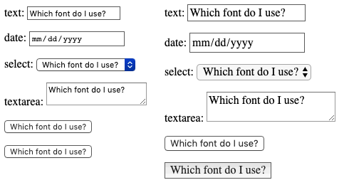 Form controls with default and inherited font families. By default, some types are serif and others are sans serif. Inheriting should change the fonts of all to the parent's font family - in this case a paragraph. Oddly, input of type submit does not inherit from the parent paragraph.