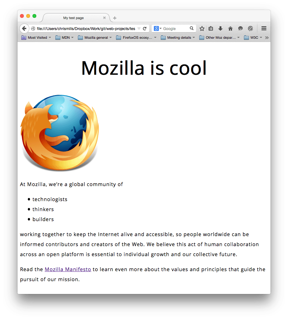 a mozilla logo and some paragraphs. a sans-serif font has been set, the font sizes, line height and letter spacing are adjusted, and the main page heading has been centered