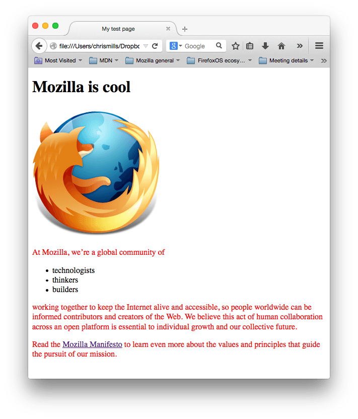 A mozilla logo and some paragraphs. The paragraph text has been styled red by our css.