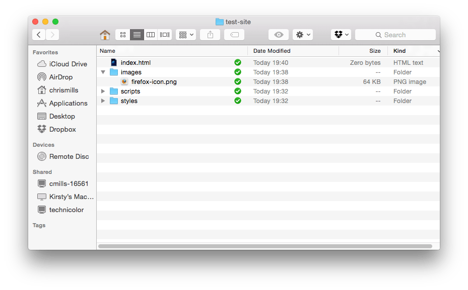 A file structure in mac os x finder, showing an images folder with an image in, empty scripts and styles folders, and an index.html file