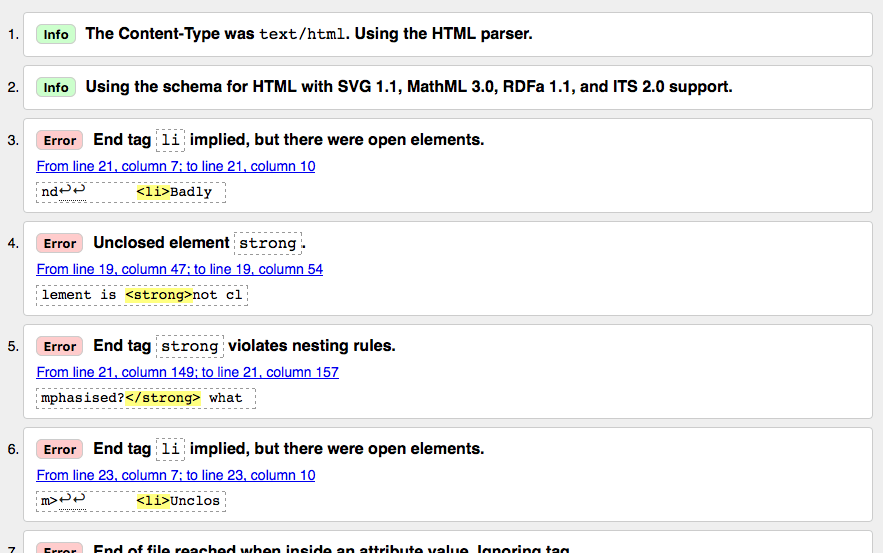 A list of HTML validation results from the W3C markup validation service