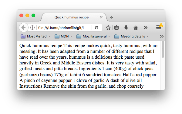 A webpage that shows a wall of unformatted text, because there are no elements on the page to structure it.