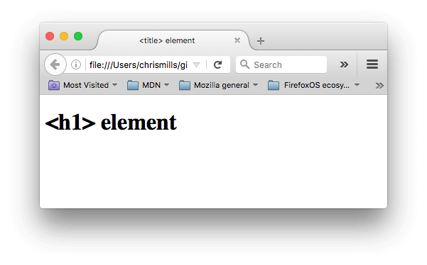A simple web page with the title set to <title> element, and the <h1> set to <h1> element.