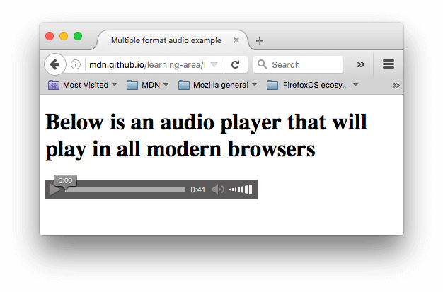 A simple audio player with a play button, timer, volume control, and progress bar