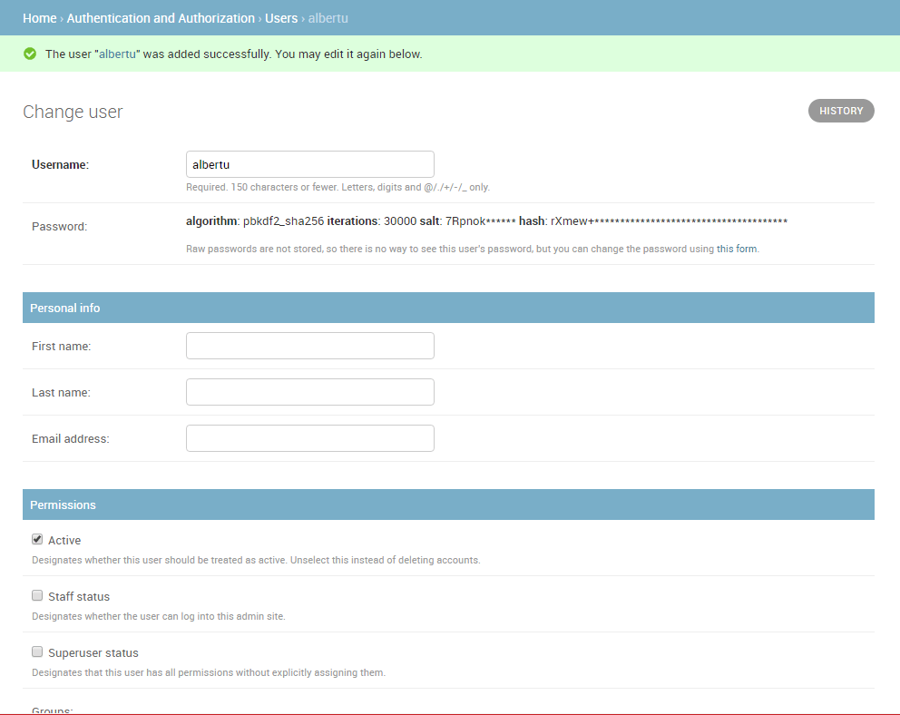 Admin site - add user pt2