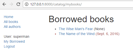 Library - borrowed books by user