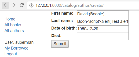 Author Form XSS test