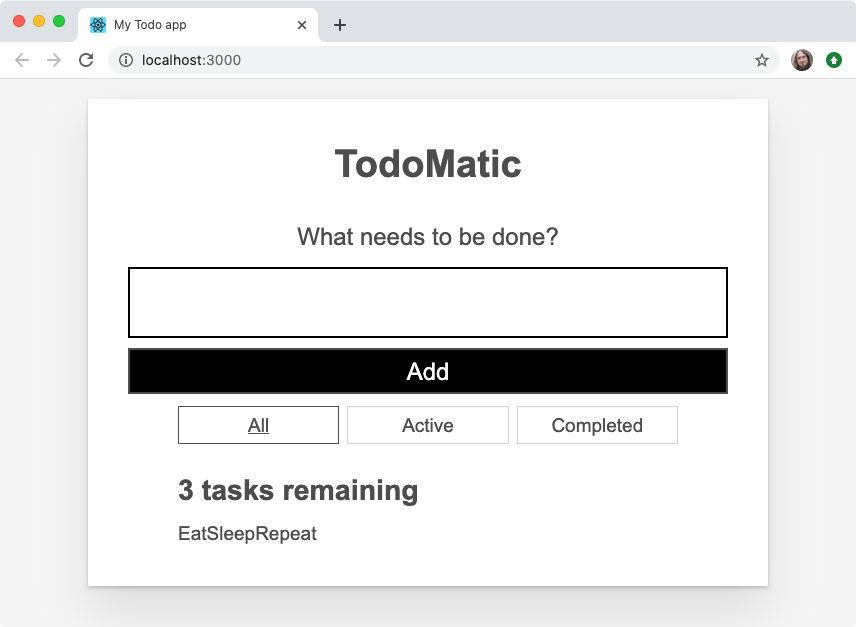 Our todo list app with the todo item labels just shown bunched up on one line