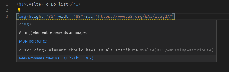 A code editor window showing an image tag, with a popup error message saying that the element should have an alt attribute