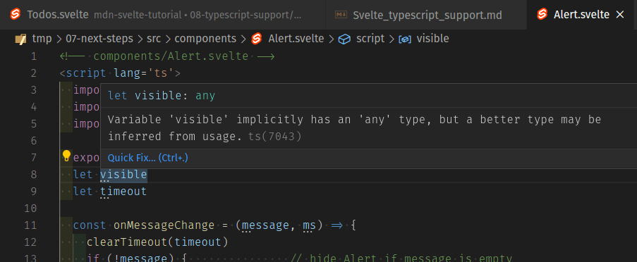 "vs code screenshot showing that when you add type=""ts"" to a component, it gives you three dot alert hints"