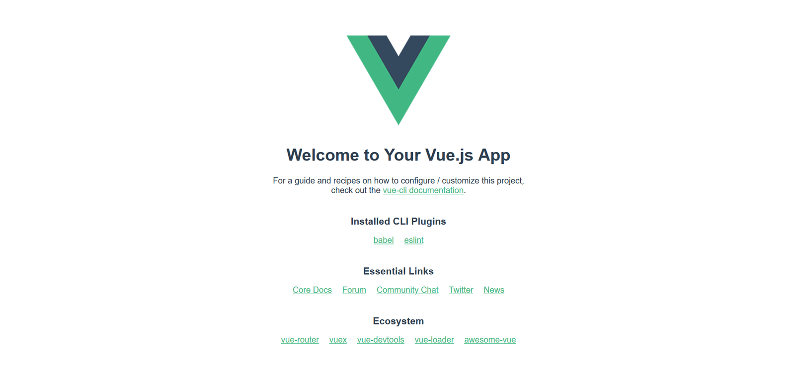 default vue app render, with vue logo, welcome message, and some documentation links