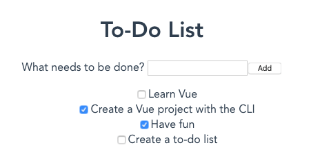 Our todo list app rendered with a text input to enter new todos
