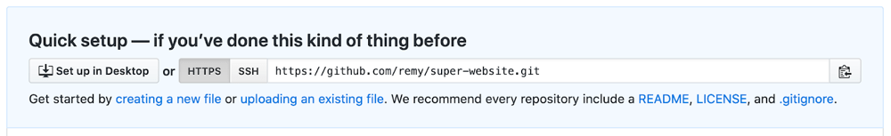 github screenshot showing remote URLs you can use to deploy code to a GitHub repo