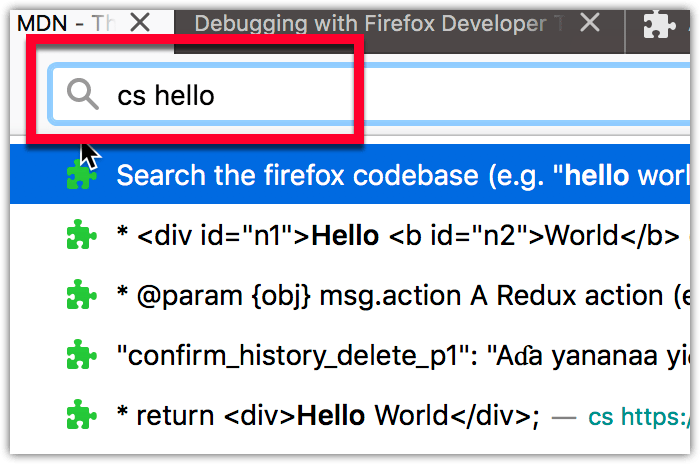Example showing the result of the firefox_code_search WebExtension's customization of the address bar suggestions.