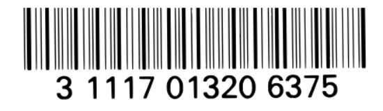 An image of a codabar format barcode. A horizontal distribution of black and white vertical lines