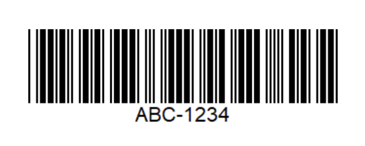 An image of a code-39 barcode. A horizontal distribution of vertical black and white lines