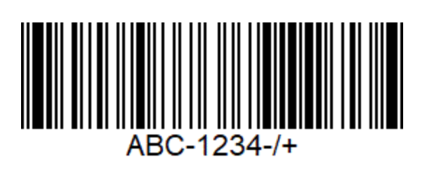 An image of a code 93 format barcode. A horizontal distribution of white and black horizontal lines