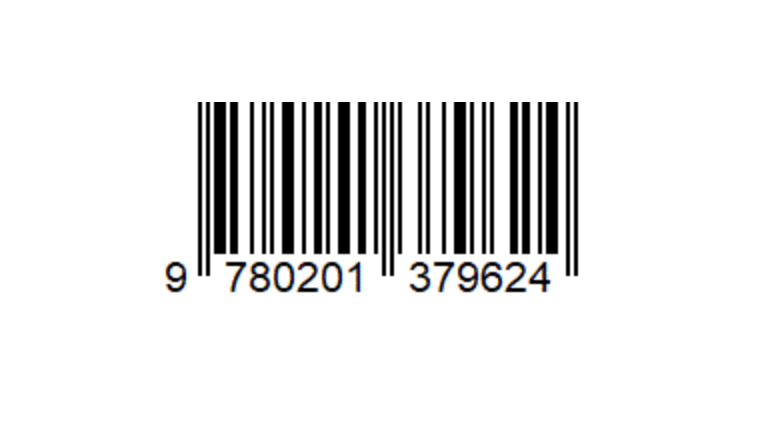 An image of an EAN-13 format barcode. A horizontal distribution of white and black lines
