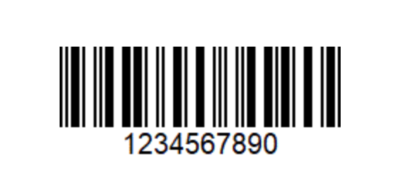 An image of an ITF Barcode. A horizontal distribution of white and black lines
