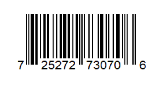 An image of a upc-a barcode. A rectangle of black and white vertical lines with numbers underneath