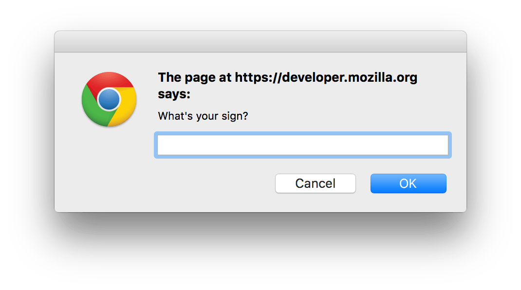 prompt() dialog in Chrome on OS X