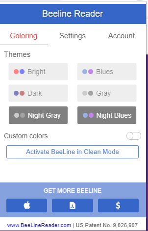 Screenshot showing modes of Beeline Reader a user can adjust in browser