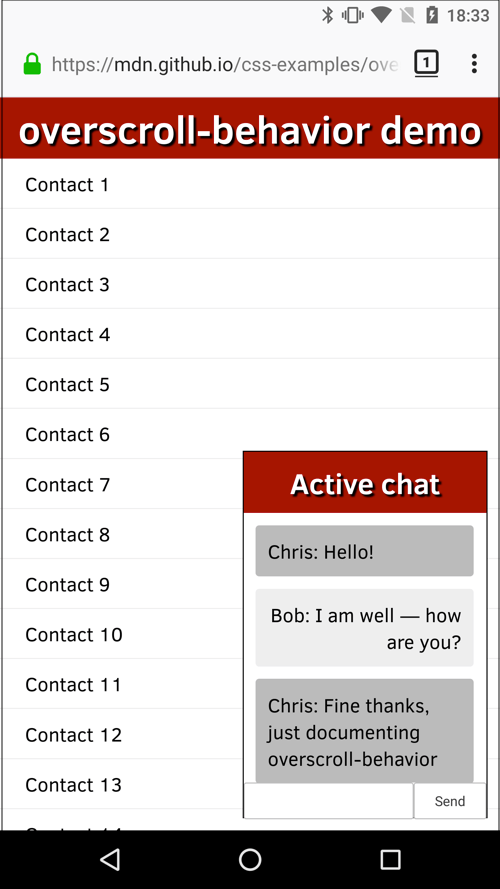 A popup chat window titled 'Active chat', showing a conversation between Chris and Bob. Behind the chat window is a contact list titled 'overscroll-behavior demo'.